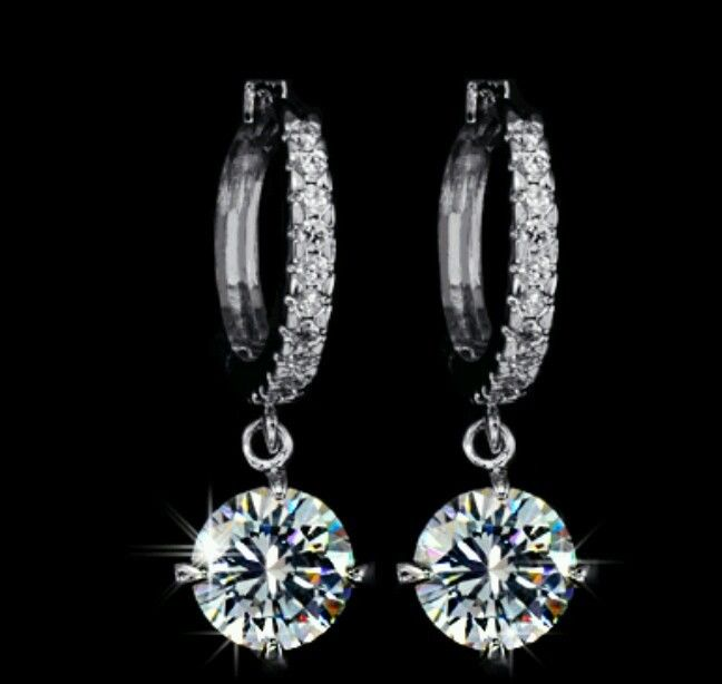 18K White Gold Plated Top Grade Swiss CZ Hoop Women Dangle Earrings | eBay