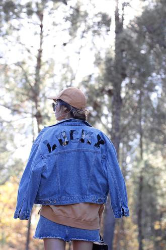 jacket tumblr blue jacket denim jacket customized sweatshirt nude top top hat cap skirt blue skirt mini skirt denim skirt sunglasses beige baseball hat