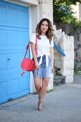 weshopinheels blogger top skirt bag shoes sunglasses red bag shoulder bag denim skirt sandals summer outfits