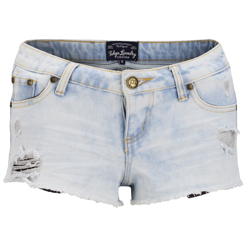Tokyo Laundry Women's Cara Denim Shorts - Light Vintage 					Womens Clothing | TheHut.com