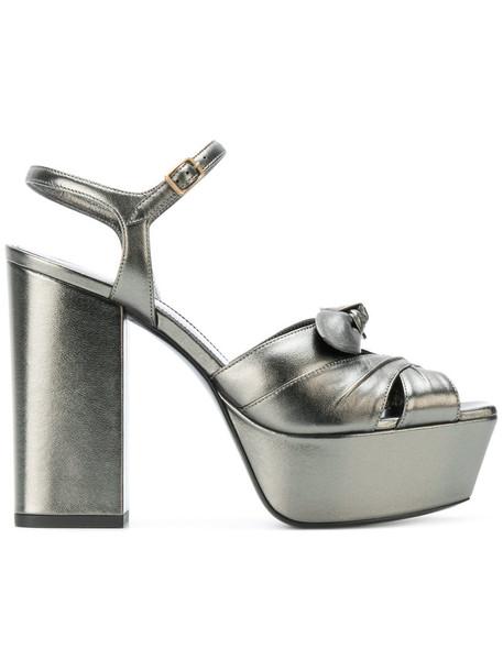 Saint Laurent bow women sandals leather grey shoes