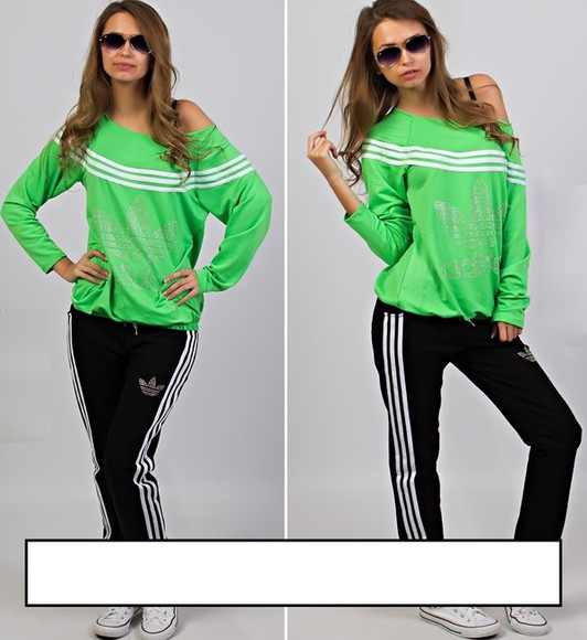 one shoulder jumpsuit adidas rhinestones 3 stripes neon neon adidas tracksuit adidas pants tracksuit off the shoulder summer outfits