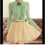 blouse,dress,skirt,vintage,the whole outfit please,clothes,vinntage,mint,cream,flowy,girly,ruffle,mint blouse,ruffled blouse,frilly,skater skirt,waist belt,bag,shoulder bag,romantic,date outfit,summer outfits,first date,brooch