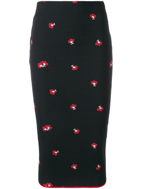 Victoria Beckham skirt pencil skirt women spandex floral cotton black