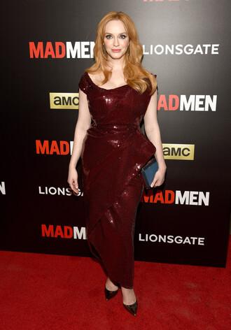dress gown red carpet dress christina hendricks sequins sequin dress burgundy