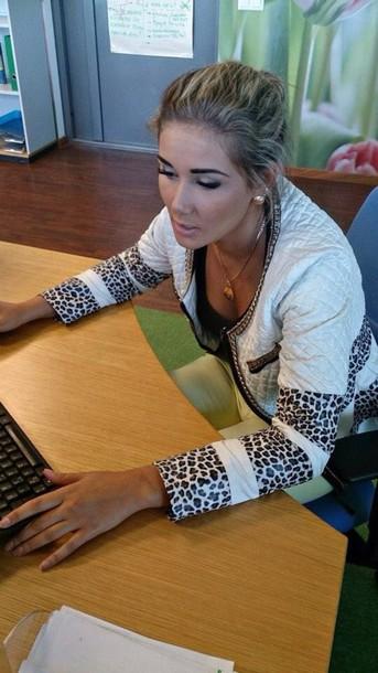 jacket leopard print beige jacket