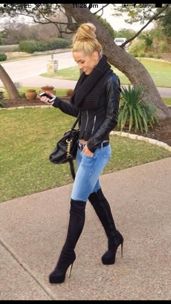 2bdd96e5c67 Buy Janelle Stiletto Heel Concealed Platform Knee High Boots - Black ...