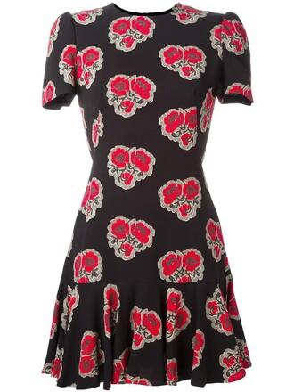 dress ruffle dress ruffle women print black silk