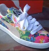 shoes,puma sneakers,puma floral,multicolor,floral sneakers,puma,sneakers,suede,color way,pumas,hawaiian,swimwear,puma suedes,classics,floral shoes,floral pummas,colorful flowers puma shoes