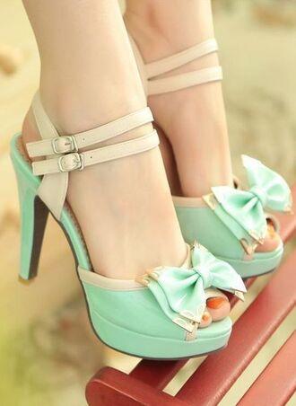 shoes mint pastel bow beige