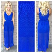 ustrendy dress,ustrendy,side cutouts,cobalt blue,cobalt,aztec,dress