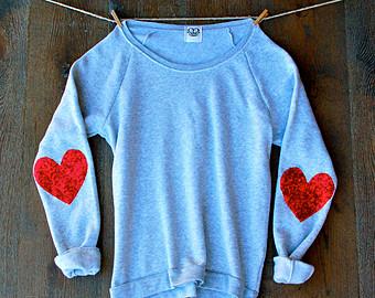 Sequin elbow patch sweatshirt jumper sequin heart elbow patch heart sparkly elbow patch gift ideas for her teens elbow patch sweater