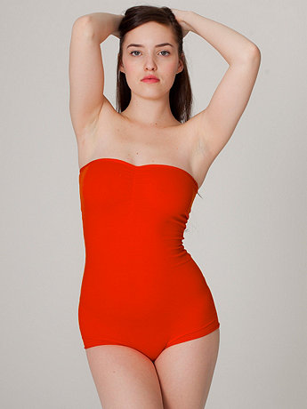 Cotton Spandex Jersey Strapless Ruched Bodysuit | American Apparel