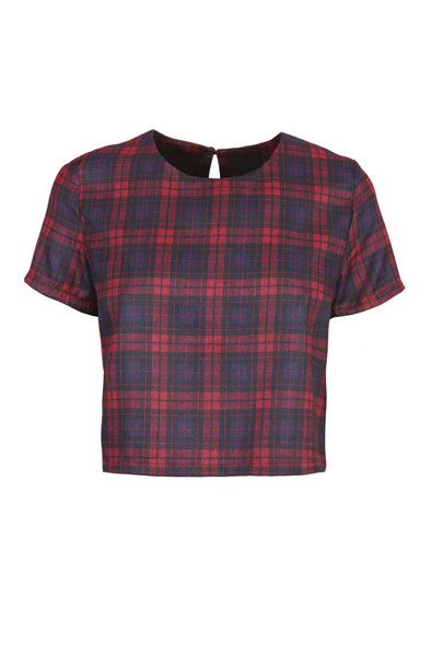 Navy Tartan Print Cropped Woven Tee at Fashion Union
