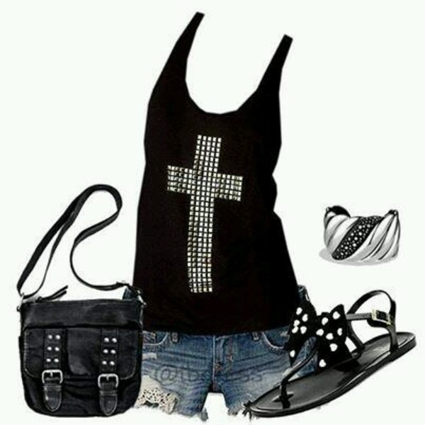 shirt black tank top cross jewls tank top