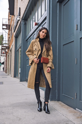 coat tumblr camel camel coat trench coat denim jeans black jeans ripped jeans skinny jeans boots black boots ankle boots bag mini bag crossbody bag