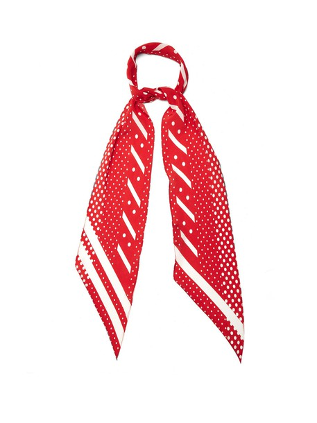 Rockins classic scarf silk scarf print silk red