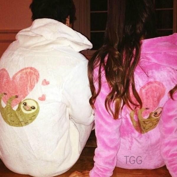 bfe1470ebe sweater onesie pink pajamas matching set sloths sloth bag.