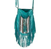 bag,teal fringe,fringes,turquoise,buffalo bones,boho chic,bohemian,satchel bag,tribal purse,teal fringe purse,crossbody bag,hunder games