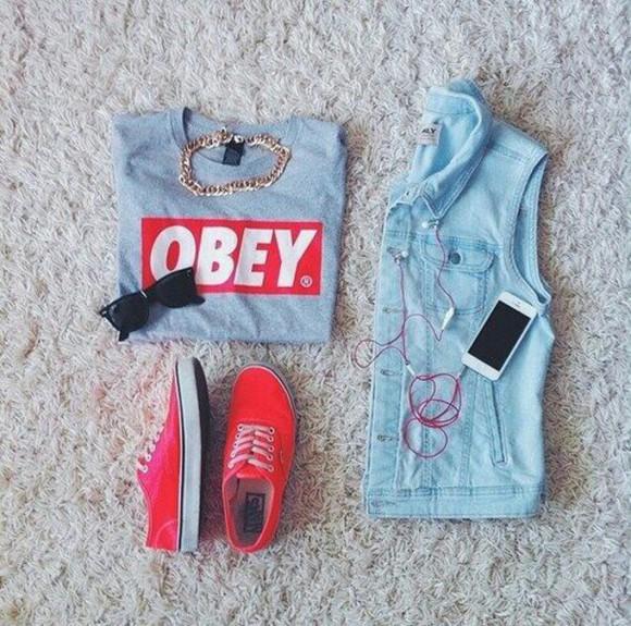 iphone case headphones white earphones sunglasses top grey t-shirt obey red vans denim jacket vest chain necklace pink shoes red vans jacket
