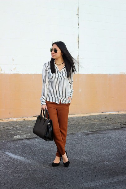 looks by lau blogger pants rust striped shirt stripe shirt