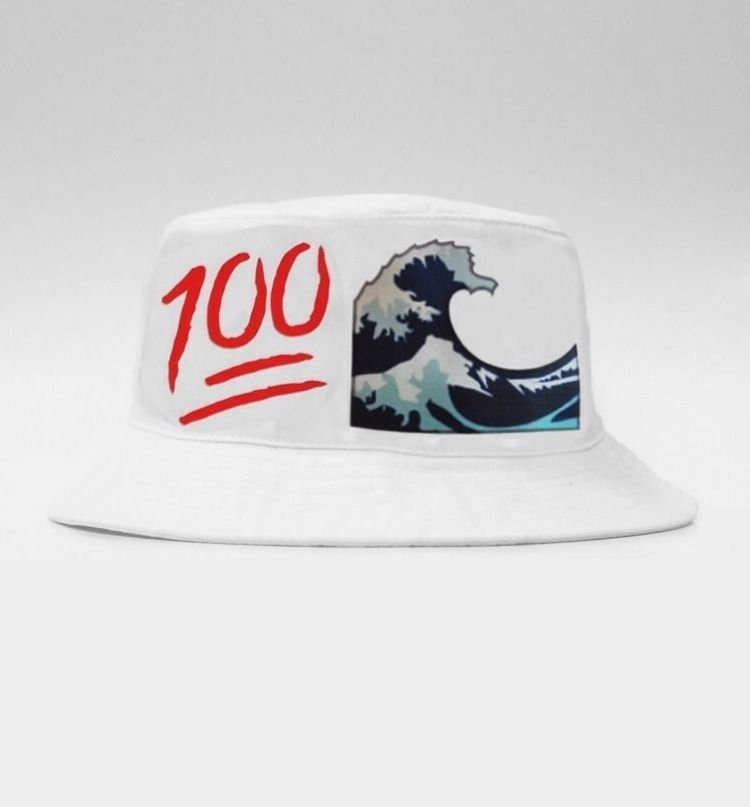 Very RARE Emoji Bucket Hat 100 x Wave One Size White | eBay