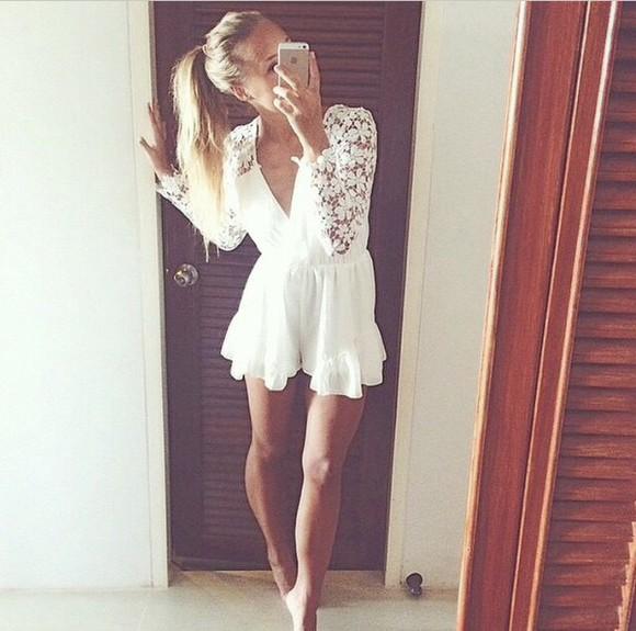cute jumpsuit white white jumpsuit combi-shorts lace shorts lace romper romper girl