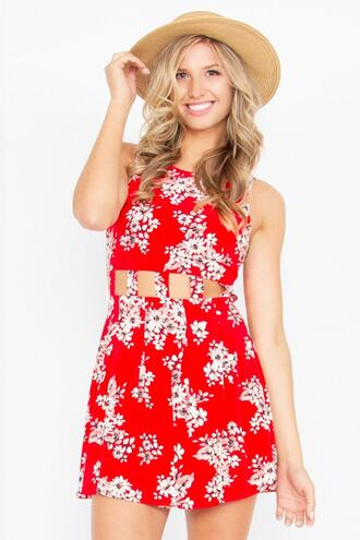 dress print cut-out floral red dress bikiniluxe