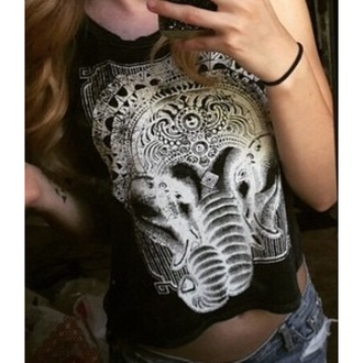 top ganesha shirt black top elephant tank top