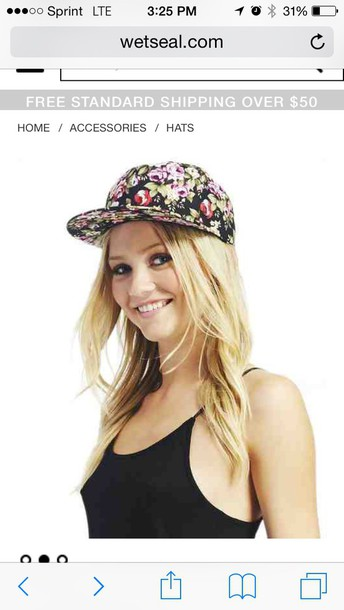 hat floral print snap back in storess