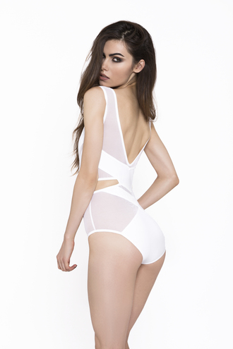 underwear crop bodysuit body lingerie caged swimwear outfit fashion cut-out backless sexy white white lingerie cheeky recklesswolf wolfpack style clothes gorgeous bra photography panties chevron cropped