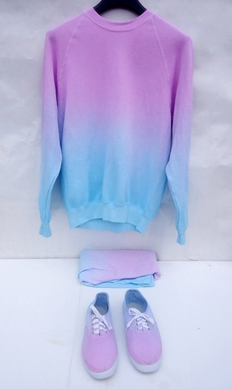 sweater tumblr ombre blue pastel purple oversized oversized sweater skirt shoes