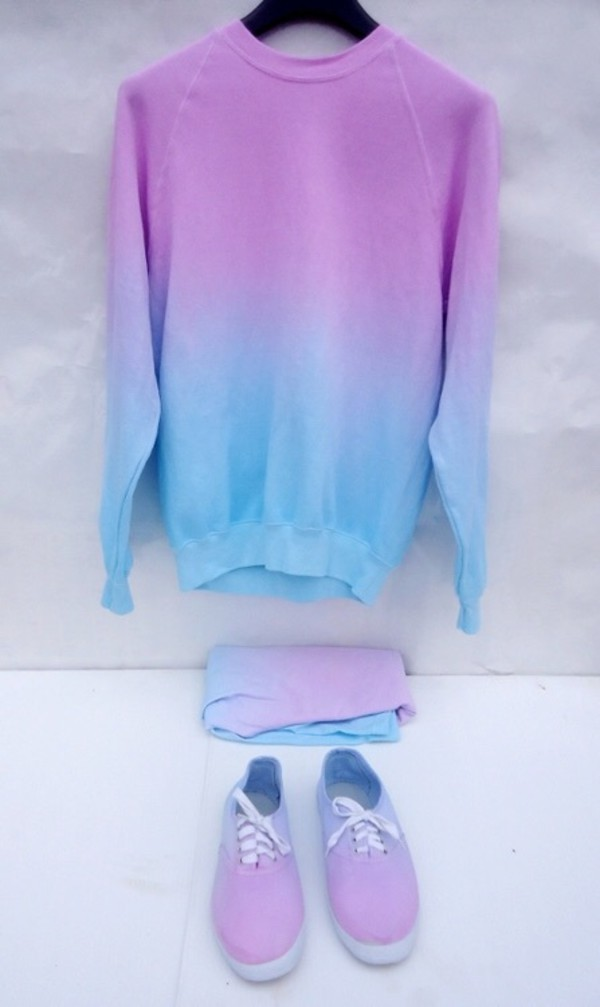 Sweater: tumblr, ombre, blue, pastel, purple, oversized, oversized ...