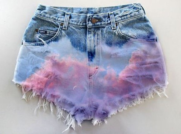 tye dye dip dyed shorts high waisted short pink high waisted denim shorts clouds light blue