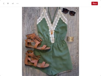 romper sunglasses summer beautiful khaki jumpsuit