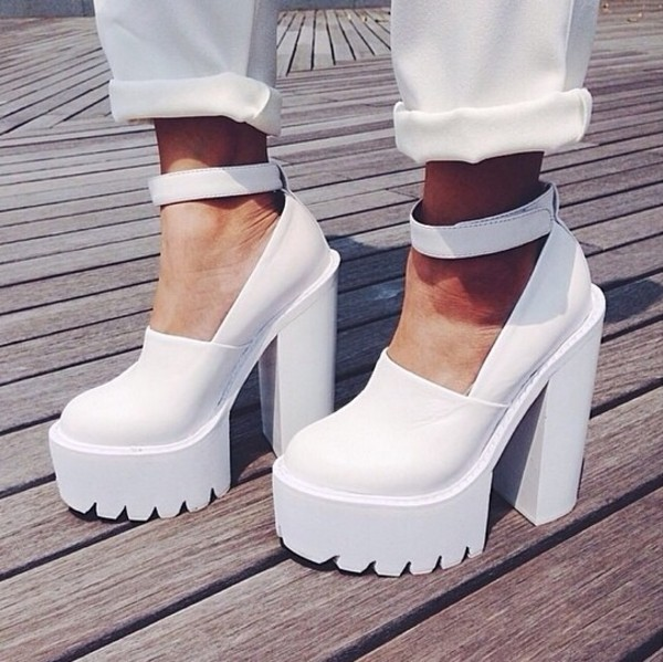 White Thick Heel Shoes | Fs Heel