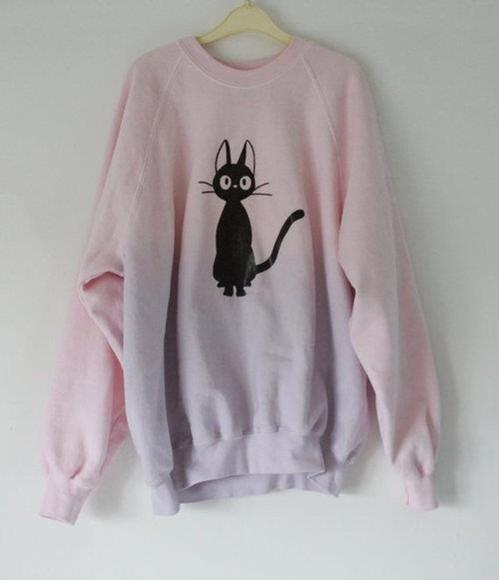 sweater cats dip dye pastel pink jumper cats tie dye black cat