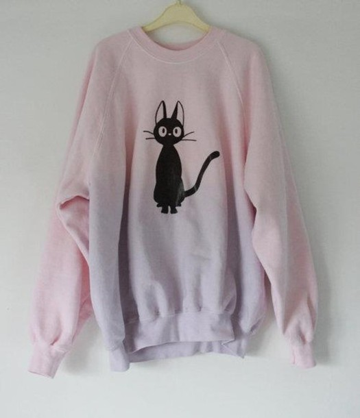Sweater Cats Dip Dyed Pastel Pink Cats Pink Sweater Jumper