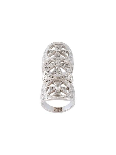 Loree Rodkin cross long metallic women ring jewels