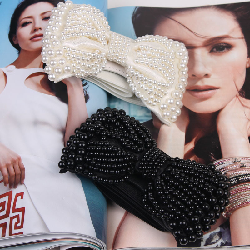 Autumn and winter fashion women's cummerbund gorgeous black and white pearl bow elastic waist belt gentlewomen decoration-inBelts & Cummerbunds from Apparel & Accessories on Aliexpress.com