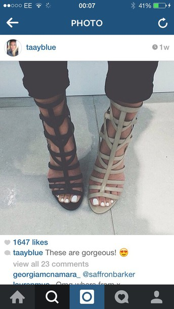 shoes cut out ankle boots high-heeled sandals nude high heels black heels blogger instagram