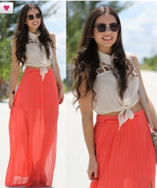 skirt maxi skirt coral chiffon lovely t-shirt