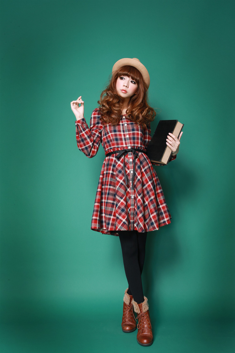Autumn Winter Sweet Retro Peter Pan Collar Fashion Slim Waist Plaid Flannel One piece Dress, Red,S/M/L/XL,2013 New Women Clothes-inDresses from Apparel & Accessories on Aliexpress.com