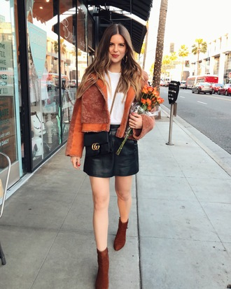bag michelle madsen sunglasses home - take aim blogger jacket skirt t-shirt shoes orange jacket ankle boots gucci bag crossbody bag winter outfits dress