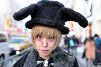 hat harajuku japan tokyo fashion style black rabbit hat glasses rabbit ears owl scarf blond cool weird i like it cute sugoi round frame glasses japanese fashion japanese streets