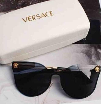 sunglasses versace medusa black lenses unique vintage designer lady gaga gold details