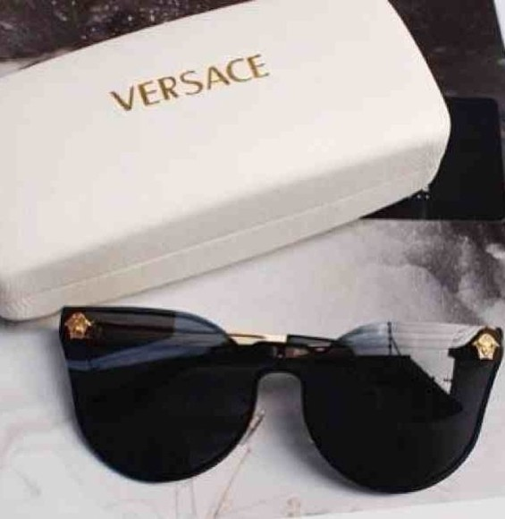 lady gaga sunglasses black versace medusa lenses unique vintage designer gold details