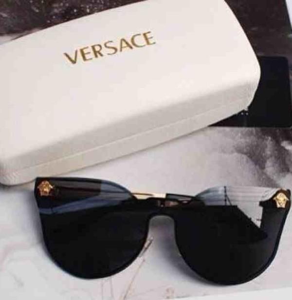 sunglasses versace medusa black contacts vintage designer lady gaga gold details