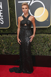 dress,black dress,long prom dress,red carpet dress,giuliana rancic,Golden Globes 2018,gown,prom dress,glitter
