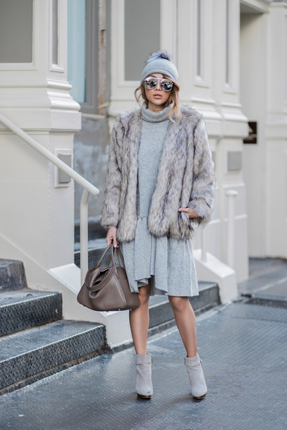 coat tumblr grey coat fur coat beanie pom pom beanie grey beanie dress midi dress grey dress knit knitwear knitted dress boots ankle boots bag sunglasses